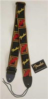 "Fender® 2"" Monogrammed Strap, Black/Yellow/Red"