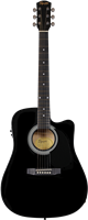 Squier SA-105CE, Dreadnought Cutaway, Stained Hardwood Fingerboard, Black