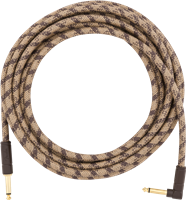 Fender 18,6' Angled Festival Instrument Cable, Pure Hemp, Brown Stripe